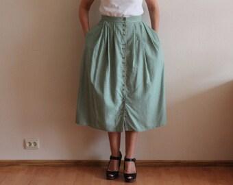 Dirndl Skirt Grey White Plaid Skirt Original Alpen Trachten Loden Dirndl Full Skirt German Austrian Tyrolean Bavarian Button up Cotton Skirt