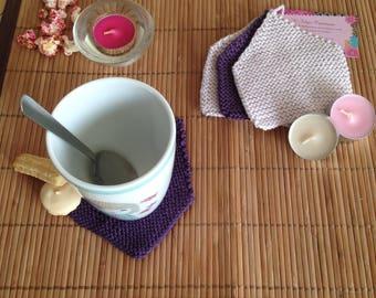 Saucer coaster House purple hand made knit