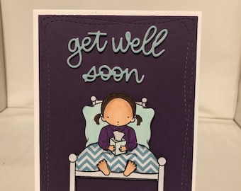 Get well soon card with white envelope