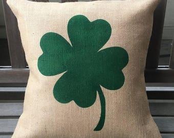 SALE Four Leaf Clover/Shamrock Burlap Pillow Cover - St Patrick's Day - Irish Pillow