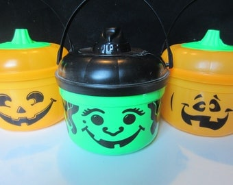 McDonalds Halloween Trick or Treat Boo Buckets Trio #4 Vintage 1990s Cookie Cutter