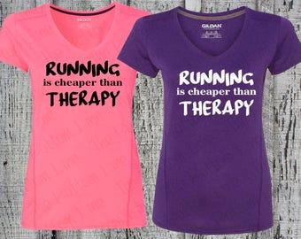 Marathon Shirt//Running is Cheaper Than Therapy Tee//Running Shirt//Workout Shirt//Exercise Shirt//Race Shirt//Funny T-Shirt//Great Gift!!