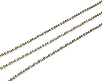 3 meters of chain with bronze beads 1.5 mm brass