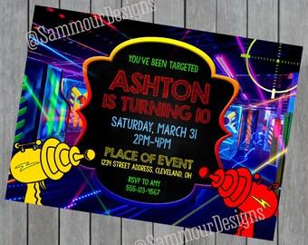 Laser Tag Birthday - Laser Tag Party - Laser Tag Birthday Invitation - Laser Tag Party Invite - Laser Tag Birthday Invitations
