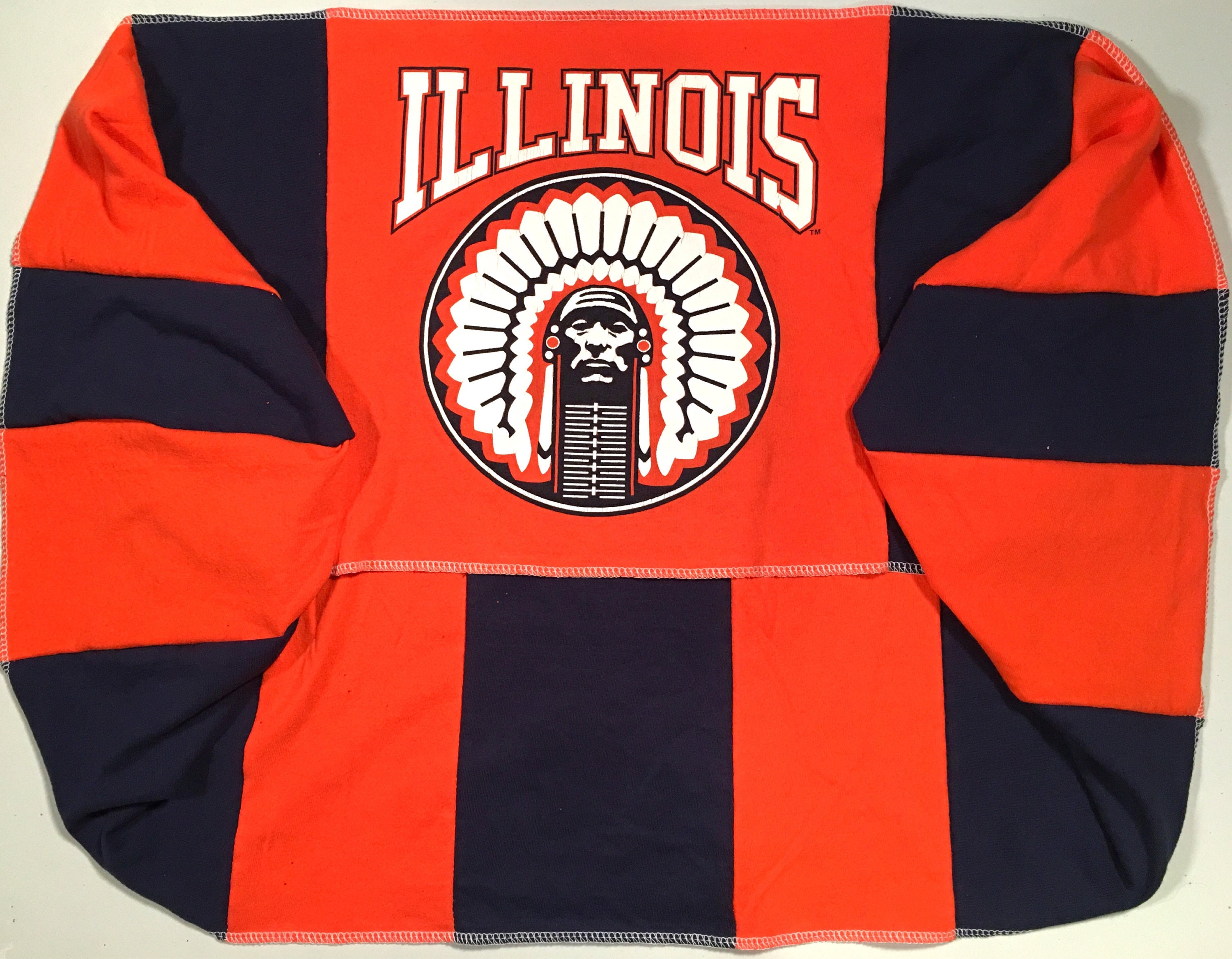 Infinity Scarf U Of I University of ILLINOIS Fighting Illini Team Spirit Upcycled Woman's T-Shirt New Handmade Scarves