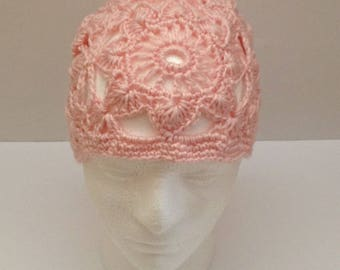 ladies crochet knit beanie hat, boho style, women's beanie hat, girls hat, woman's hat, boho hat, pink beanie hat, floral cloche hat,