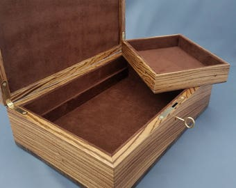 Luxury Zebrawood and Walnut Jewellery Box