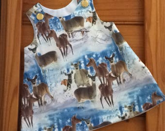 Baby girls Oh Deer pinafore ,baby girls dress.handmade baby dress,  pinafore dress .size 12-18 months (1). Christmas dress.