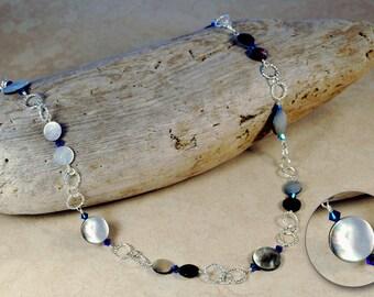Black Lip Shell Long Layer Necklace Spring Summer Jewelry Gift Swarovski Crystal Boho Rustic Beach Artisan Sterling Silver Rainbow Blue