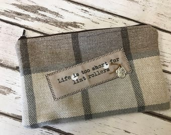 Life is too short for lint rollers -  dog lovers zippered purse/pouch. Beige and cream tartan wool