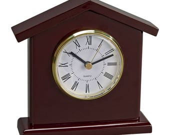 Wood Clock, Tower Clock With Engraved plate