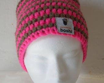 """Hat """"myboshi"""" model niseko neo pink and Tan wool"""
