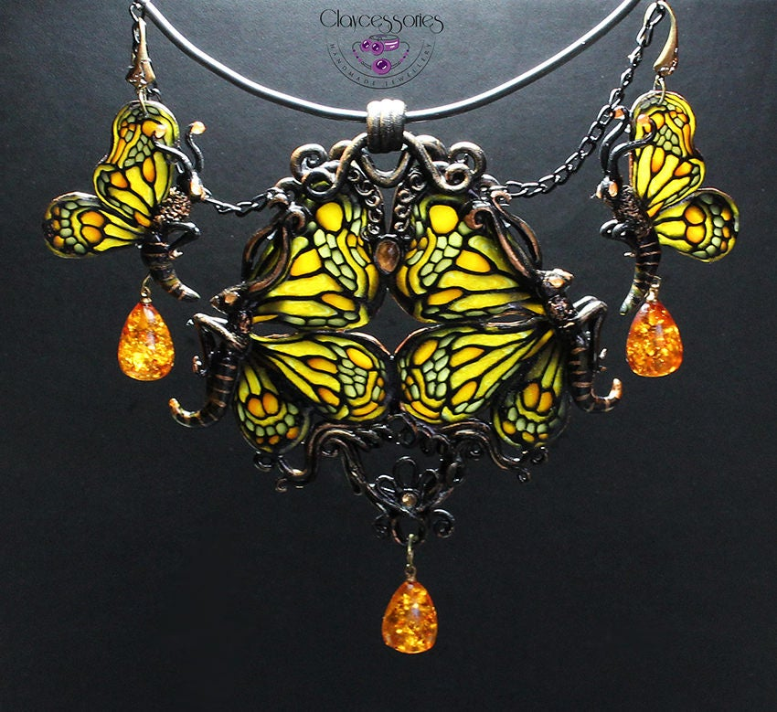 Butterfly necklace / Butterfly earrings / Art Nouveau jewellery / Amber jewellery / Vintage jewellery / Insect jewelry /Polymer clay jewelry
