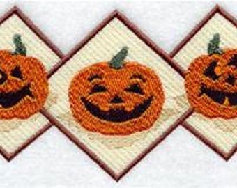 embroidered Hand towel - pumpkin trio - many colors available