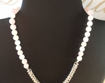 Rose Quartz Necklace with Chainmaille