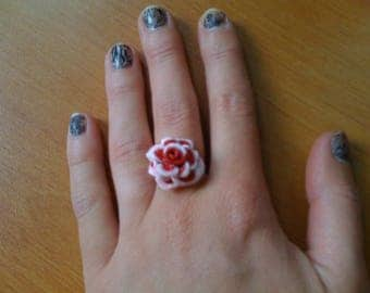 FASHION BICOLOR FIMO polymer clay red ROSE ring