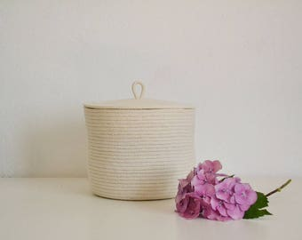 Rope basket , Lidded basket, Storage basket with lid, Medium basket, Laundry basket, Toys basket, Scandinavian basket, Storage bin