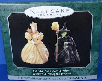 1997 Glinda and Witch of the West Wizard of Oz Hallmark Ornaments Set/2