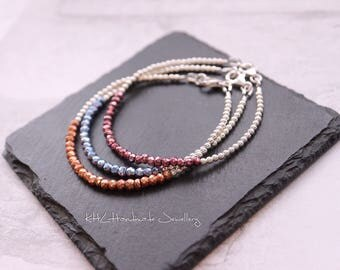 Silver Bracelet * Dainty Jewellery * Simple Bracelet * Gemstone Jewellery* Gift for Her * Pyrite Bracelet * Mothers Day * Valentines Gift