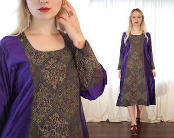 Vintage Indian kurta tunic dress dark eggplant royal purple embroidered BoHo ethnic