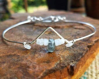 Moonstone & Labradorite Sterling Silver Arm Band, Made To Order, arm cuff, anklet
