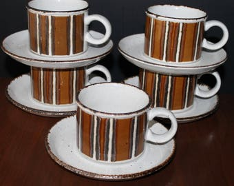 Wedgwood Stonehenge Midwinter Earth Cups Saucers Brown Stripe Mugs Stoneware Cups Saucer Set Mid Century Modern & Etsy :: Your place to buy and sell all things handmade