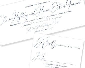 Modern Script | Unique Shape | Horizontal Wedding Invitation | DIY Option Available | Invitation | RSVP | Info Card #1210