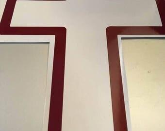 maroon cross window decal