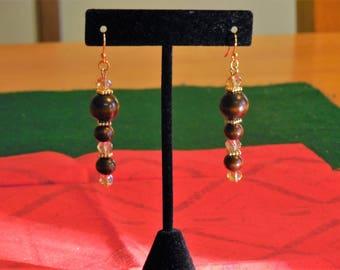 Wood and Crystal Dangle Earrings