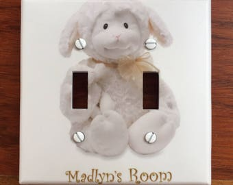 Lamb Nursery Baby Light switch cover Personalized decor // SAME DAY SHIPPING**