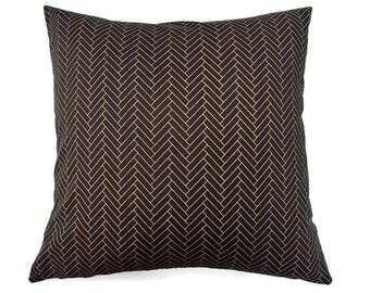 Black and Gold Herringbone-Invisible Zipper Pillow Cover-Bedroom-Party-RV-Nursery-Boat-Living room-Decor