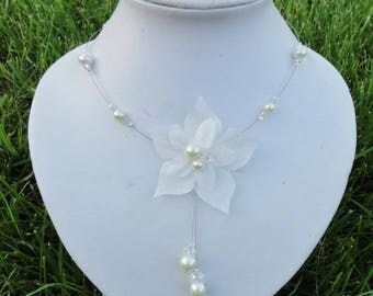 Jewelry set for wedding, bridal set - necklace, Bracelet, hair jewelry and Earring Set - ivory or white-