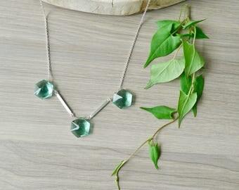 Geometric Stone, Necklace, Aqua Quartz, Sterling Silver, Minimalist Bib, Simple Stone Necklace, Hexagon Stone, Teal Quartz, Fancy Cut