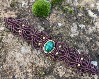 Macrame bracelet malachite with a bronze setting - color brown