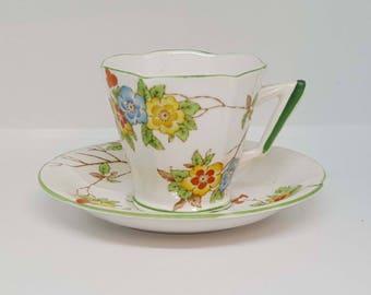 Art Deco Royal Albert Crown China Tea Cup and Saucer