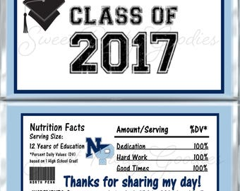 Set of 12 -  Graduation Candy Bar Wrappers - Personalized Graduation Party Favors - Chocolate Bar Favors - North Penn Blue