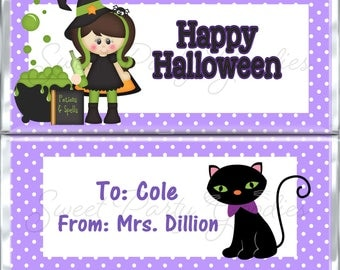 Halloween  Candy Bar Wrapper -  Halloween Witch Candy Bar Wrapper - Halloween Black Cat Candy Bar Wrappers - Party Favors - PDF or Printed