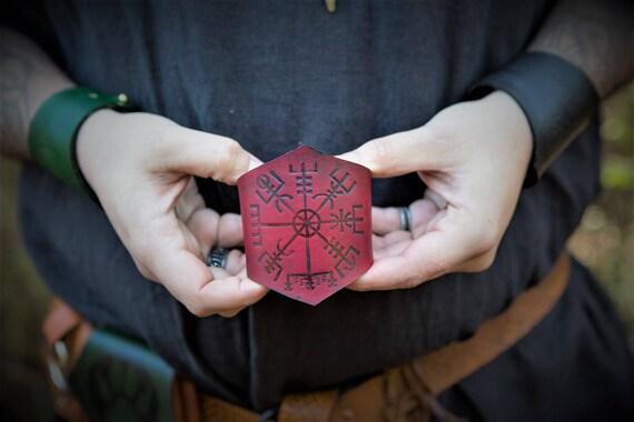 Viking Leather Wrist Cuff - Norse Vegvisir Compass Design - Larp Cosplay