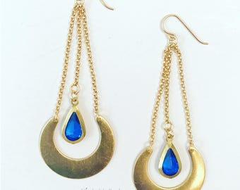 Half Moon Blues: Crescent-Shaped Brass, Teardrop, Blue Glass and Chain Earrings