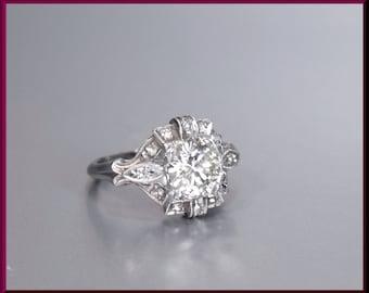 Antique Vintage Art Deco Platinum Old European Cut Diamond Engagement Ring Wedding Ring - ER 530S