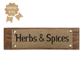 Herbs & Spices - WOOD SIGN - HANDMADE - Rustic Modern Font Kitchen Pantry Decor