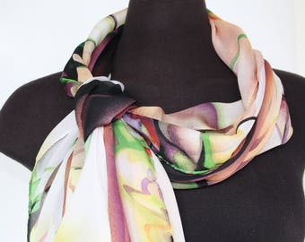 Women's scarves - Unique handmade scarves - Fashion scarves - Luxury scarf - Spring summer scarves - long shawl - Long scarves - Satin scarf