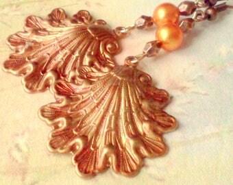 Shell Earrings, Copper Shell Earrings, Hand Painted Shell Dangles, Victorian Design Acanthus Shells, Shell Dangles, Nautical Shells, Boho