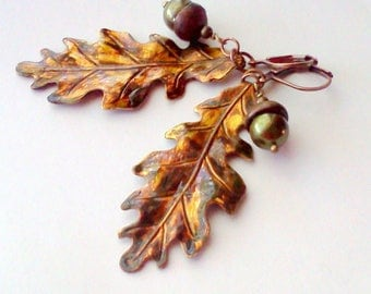 Oak Leaf Earrings, Oak Leaf Dangles, Leaf Earrings, Hand Painted Earrings, Acorn and Leaf Earrings, Painted Leaf Earrings, Leaf Dangles