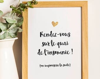 A4 - Poster Rendez-vous sur le quai - quote, poster, black and white, declaration, sweetheart, couple - A