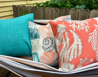 Beach Pink Coral and Teal Outdoor Pillow Cases (1 set of 3)