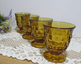 Whitehall Cube Glasses ~ Amber Glasses ~ Set of 4 ~ Indiana Glass ~ Retro Glassware ~ Heavy Footed Glasses ~Honey Gold Glassware~Holidays