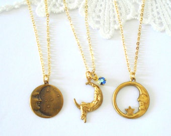 Little Celestial Necklace, Gold Moon Necklace, Moon Goddess Necklace, Gold Layering Necklace, Gift for Her