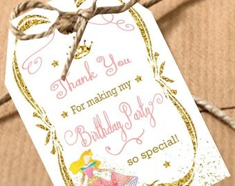 Princess Birthday Party favor tags Printable Girl Birthday favor tags Disney favor tags Pink and gold Instant Download Party Thank You Tags