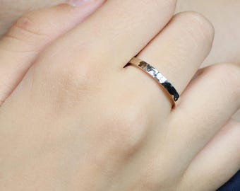 14k White Gold Wedding Band-3mm-4mm-5mm-6mm-7mm-1 mm thick gold-Hammered Wedding Band-Handmade-Men's band-Women's band-FREE SHIPPING.